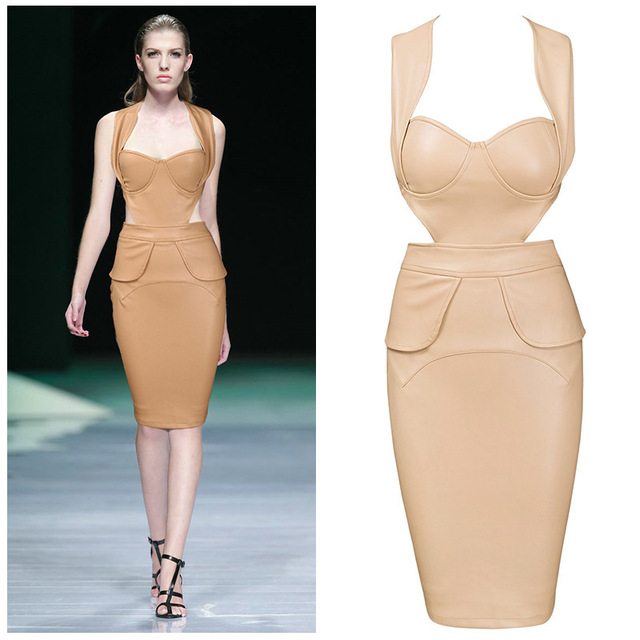 06d14fabffa9 Online Wholesale Aliexpress UK France Fake Designer Clothes Women 2015  Halterneck Sexy Summer Style High Quality Leather Dress