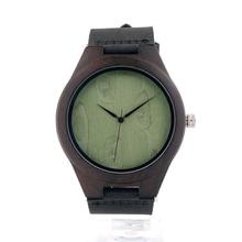 BOBO BIRD F04 Nature Wooden watch Ebony Luxury Men's Quartz Watches Leather Band Wirstwatch As Gift Accept Customization Relogio