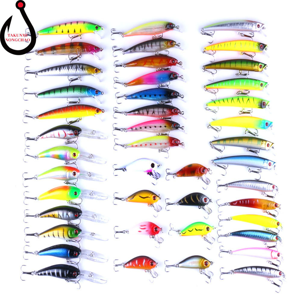 Fishing Minnow Lure Kit Pack of 43pcs Assorted Crankbait Tackle Mixed Bass Fishing Lures with Hook Set ZG-14 30pcs set fishing lure kit hard spoon metal frog minnow jig head fishing artificial baits tackle accessories