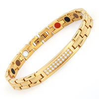 2018 New Style Energy Health Bracelet 99.999% High Pure Germanium Bracelet Stainless Steel MagneticTherapy Bracelet for Women
