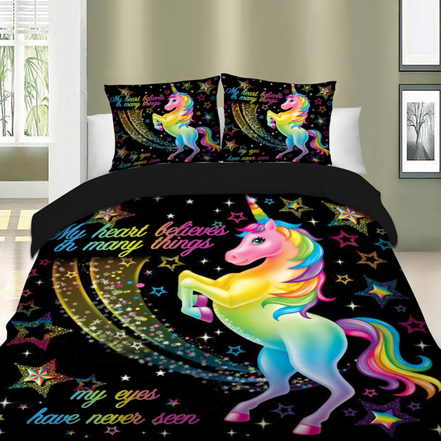 Dropshipping Duvet Cover Rainbow Unicorn Fairytale with Sparkling Stars 3D Digital Printing Bedding Sets Black Background 1