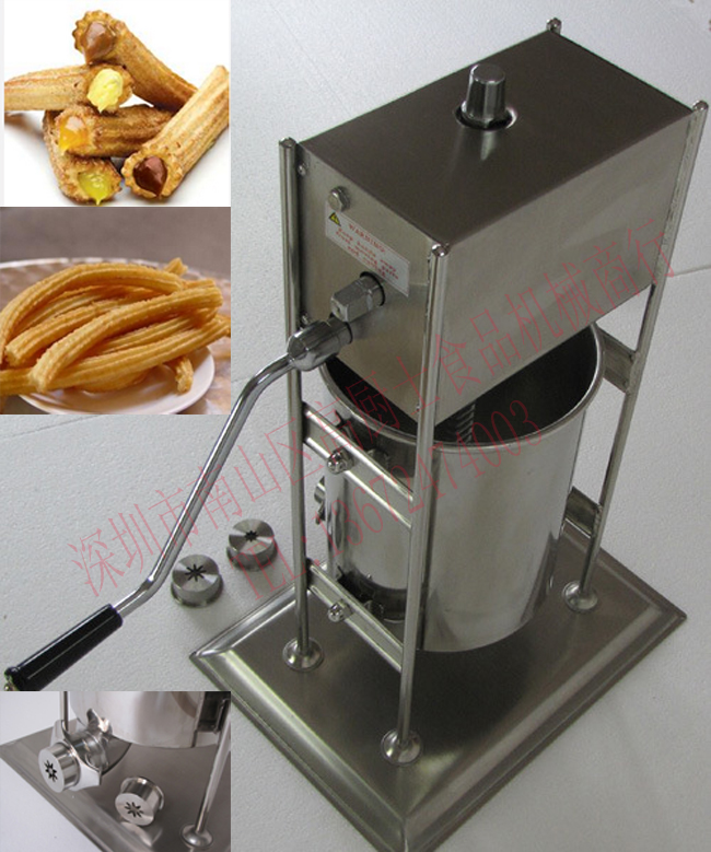 Free shipping 5L Stainless steel Spain Churro making machine with 3 size flower core churro display warmer deluxe stainless steel churro showcase machine with heat food warmer and oil filter tray
