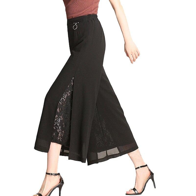 LZMZA High waist Sexy Lace   pants   Summer Chiffon   wide     leg     pants   women Elastic Waist trousers casual   pants   female Plus Size 4XL