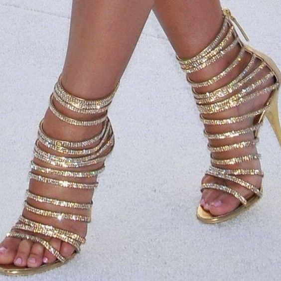 Plus Size 10 Gold Glitter Strappy Sandals Women Cut-out Thin Heels Summer Dress Shoes Back Zipper Gladiator Sandals Boots cut out back plunging kimono dress