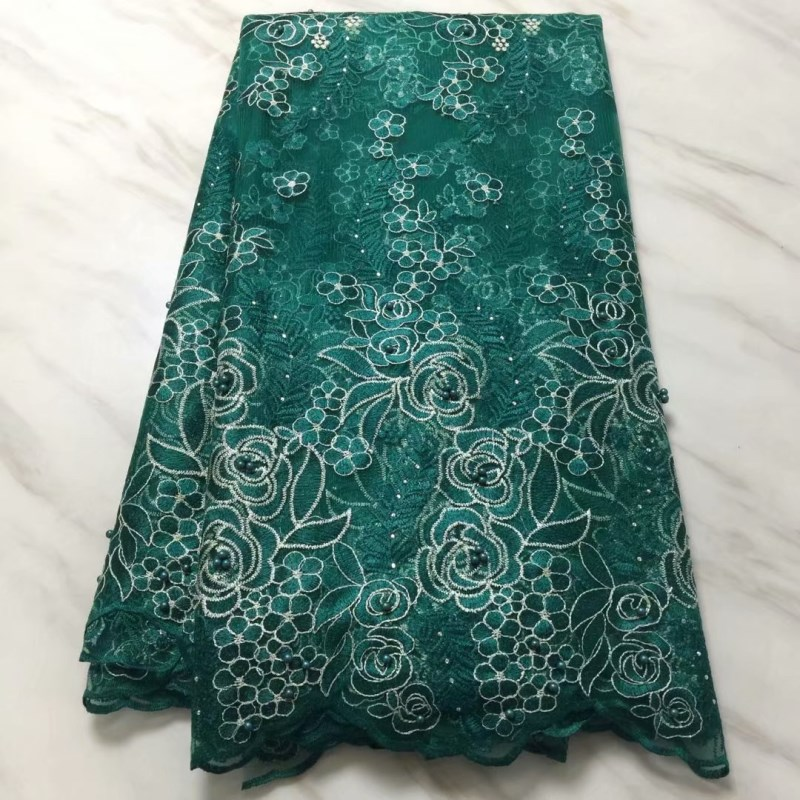 Home & Garden Lace 2019 Nigerian Green Wedding Lace African Lace Fabric Dubai Bridal Tulle French Cord Lace Fabric For 5yards Ff121