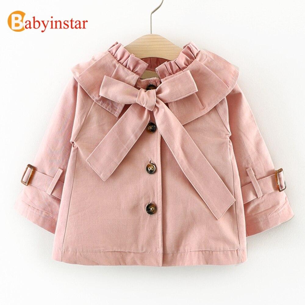 Babyinstar Fashion 2018 Girls   Trench   Coat Big Bow Autumn Long Sleeve Children's Clothing Casual Kids Jacket Outwear