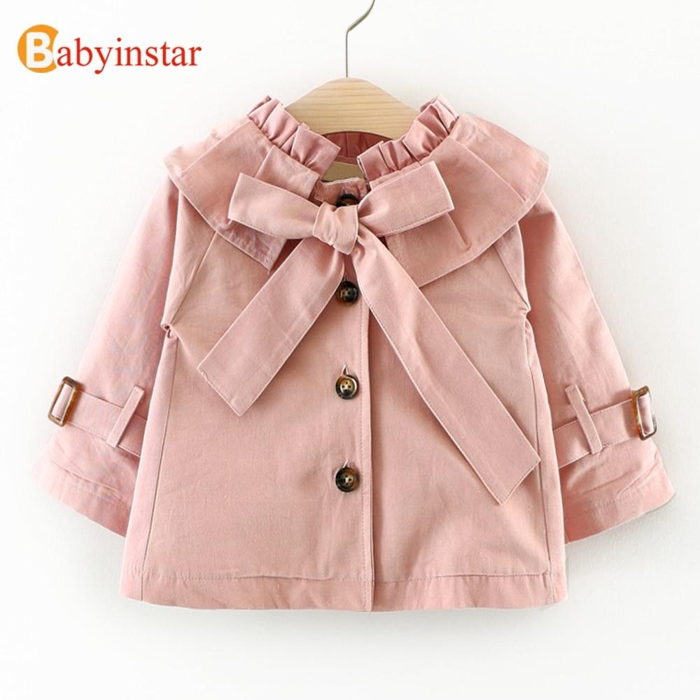 Babyinstar Fashion 2019 Girls   Trench   Coat Big Bow Autumn Long Sleeve Children's Clothing Casual Kids Jacket Outwear