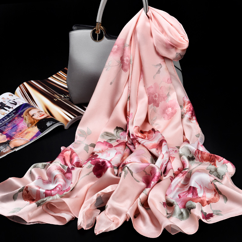 Ladies 100% Pure Silk Scarf Luxury Brand 2019 Hangzhou Silk Shawls and Wraps for Women Double-layer Natural Real Silk Scarves