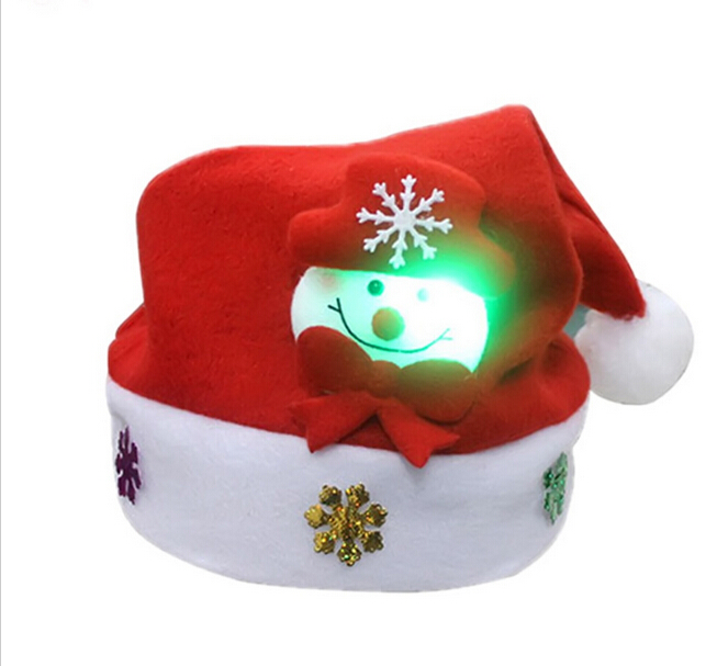 Christmas Santa Claus Hats Children Xmas Santa Claus Hat Party Cap Deer Pattern LED Lights Adult Skullies for Party Celebration