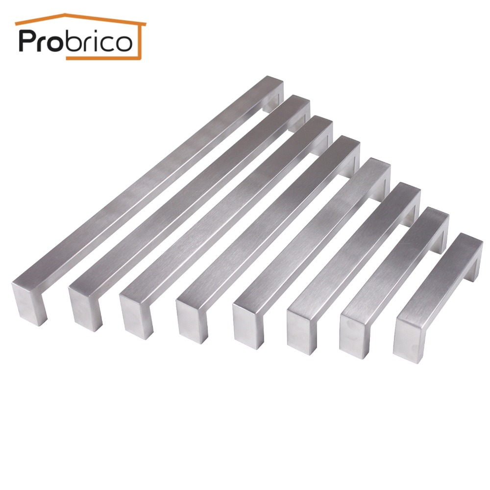 Probrico 10mm*20mm Square Bar Handle Stainless Steel Hole Space 96mm~320mm Cabinet Door Knob Drawer Handle Pull PDDJ30HSS 2pcs set stainless steel 90 degree self closing cabinet closet door hinges home roomfurniture hardware accessories supply