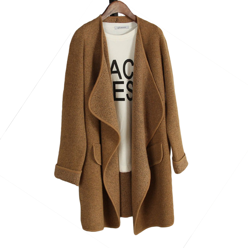 2018 new European and American irregular large lapel sweater in the long paragraph loose female cardigan explosion models 50030