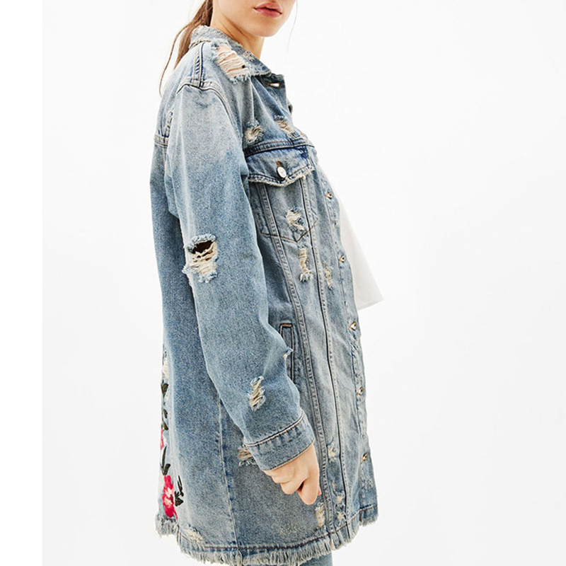 Autumn Denim Floral Embroidery Letter Jacket Frayed Holes Jacket Women Long Rips Detail Denim Jacket Lapel Single Breasted Coat in Jackets from Women 39 s Clothing