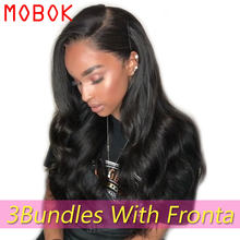 MOBOK Brazilian Hair Weave Bundles Body Wave Bundles With Frontal Human 13x4 Hair Free/Middle/Three Part Lace Frontal Closure(China)