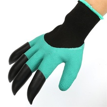 Garden Gloves 4 ABS Plastic Garden Genie Rubber Gloves With Claws Quick Easy to Dig and Plant For Digging Planting перчатки beringo garden genie gloves