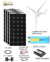 600W wind turbine 400W Solar Wind Hybrid solar system DIY kit solar panel home house module mobile dc 12v 24v off grid