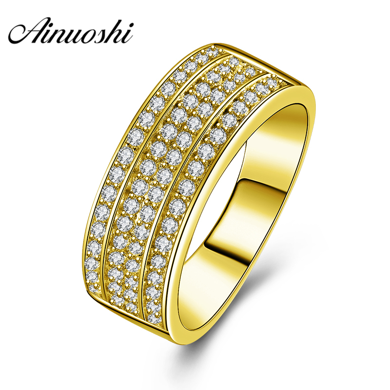 AINUOSHI 10K Solid Yellow Gold Wedding Band Trendy Rows Drills Cluster Ring Luxury 7.4g Wedding Engagement Gold Jewelry Men RingAINUOSHI 10K Solid Yellow Gold Wedding Band Trendy Rows Drills Cluster Ring Luxury 7.4g Wedding Engagement Gold Jewelry Men Ring