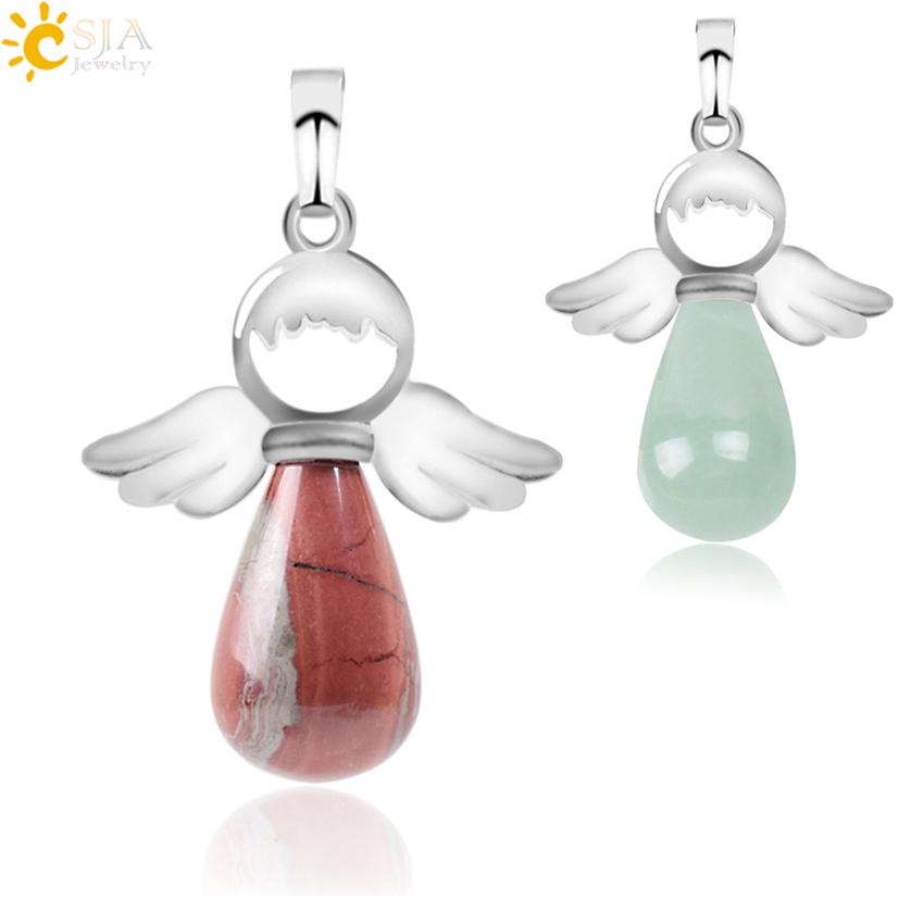Csja кулон ангелов из натуральных камней для ожерелья розовые