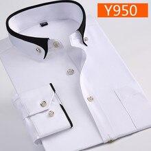 Nova chegada primavera moda comercial fácil cuidados camisa masculino cor sólida oversize manga longa plus size M 4XL5XL6XL7XL8XL9XL
