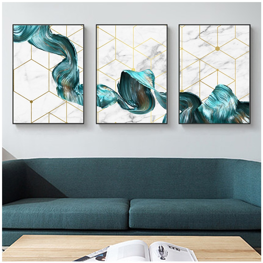 US $2.75 50% OFF|Nordic Decorative Abstract Marble With Blue Gold Paint  Canvas Painting Poster And Print Picture Wall Art Living Room Home Decor-in  ...