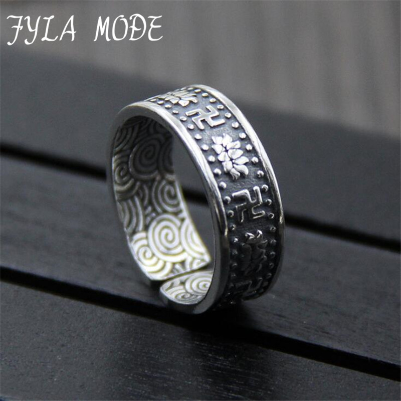 2018 Promotion Anillos S999 Pure Silver Swastika Word Lotus Pattern Retro Thai Silver Ring Fine Silver Jewelry Personality Man