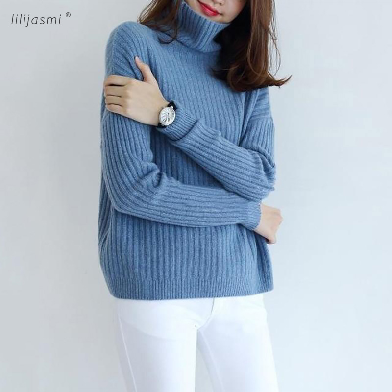 Rabbit Cashmere Wool Ribs Pullover Womens Sweaters Classic Women Angora Turtleneck Knitted Sweater