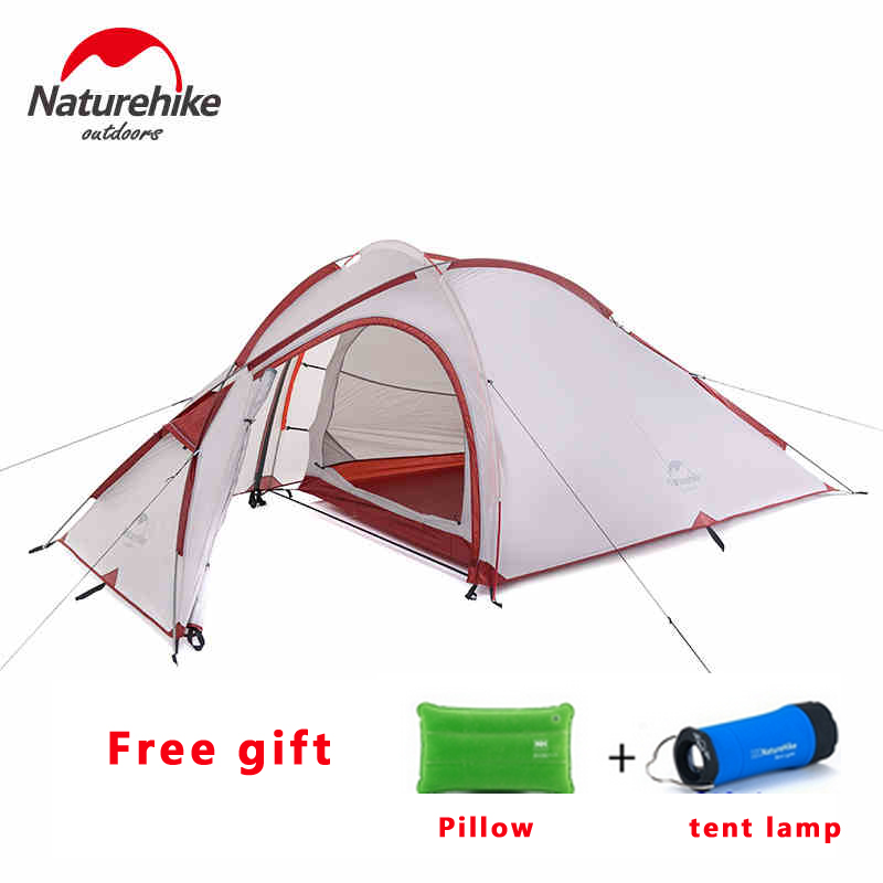 2017 Naturehike Camping Tent 3 Person 20D Silicone One Bedroom One Living Room Double Layers Rainproof NH Outdoor Tent 4 Season naturehike factory hiby family tent 20d silicone fabric waterproof double layer 3 person 3 season camping tent one room one hall