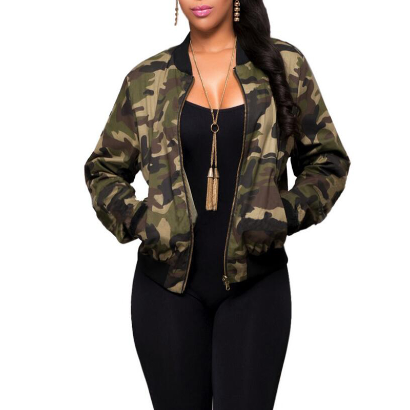 Women Camo Jackets Fashion Coat Army Green Women's Bomber Jacket Coat Female Summer Overcoat Tops Air Foce 1 Casual Coat
