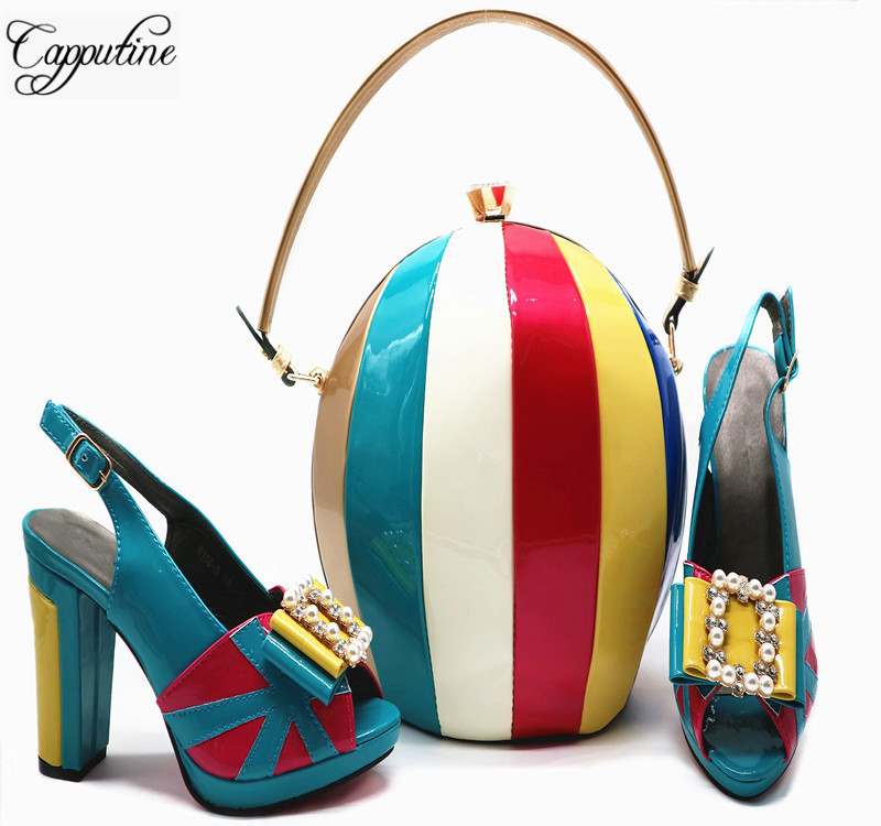 African Style High Heel Shoes And Ball Bags For Party Nigeria Elegant Summer Woman Pumps Shoes