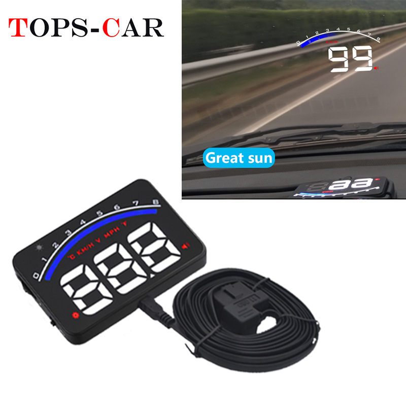 GEYIREN Auto Electronic Overspeed Warning System Water Temperature Alarm Car HUD OBD2 RPM Meter M6 Head-Up Display