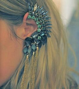 KMVEXO New Ear Type 2019 Luxury Punk Cool Crystal Gem Gold Color Earring Earcuff Vintage Earrings Clip On Earrings For Women