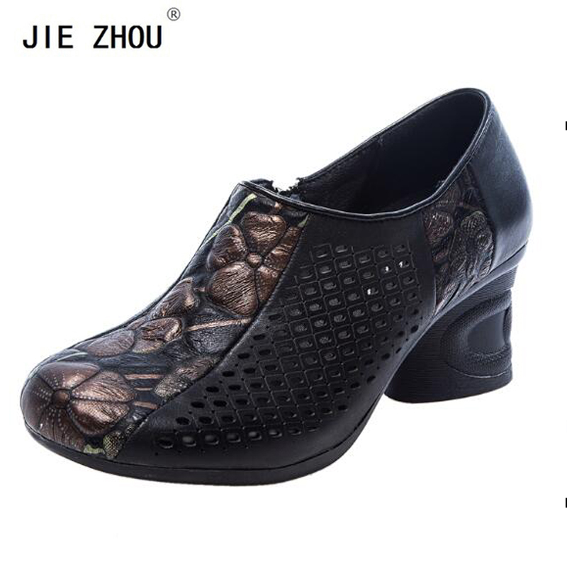 Square Heel Pumps Summer Fashion Shoes Woman Cow Leather Cut Outs Med heeled Shoes Ethnic style