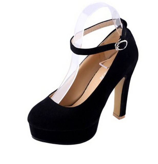 [H]2017 women's Pumps Shoes Women Autumn  High Heels Pumps Hallow Mouth Round Toe Platform Black Large .XXXY-159