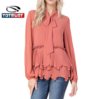 TOTRUST Elegant Front Bow Blouse Shirt Women Ruffle Blouses And Tops Vintage Chiffon Blouse Women Long