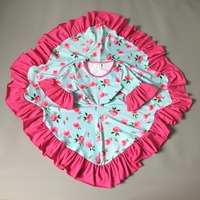 New girl frock design Summer autumn Children middle sleeve Girls Floral Dresses Kids Princess party