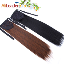 AliLeader Products 50CM 20 Inch Fake Long Ponytail Hairpiece Straight Synthetic False Hair Tails Clip In Ponytail Drawstring
