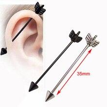 1 adet Aşk Kalp Cerrahi Paslanmaz Çelik 1.2*35*6mm Başak Cupid Ok Endüstriyel Halter Piercing Helix kulak göbek takısı