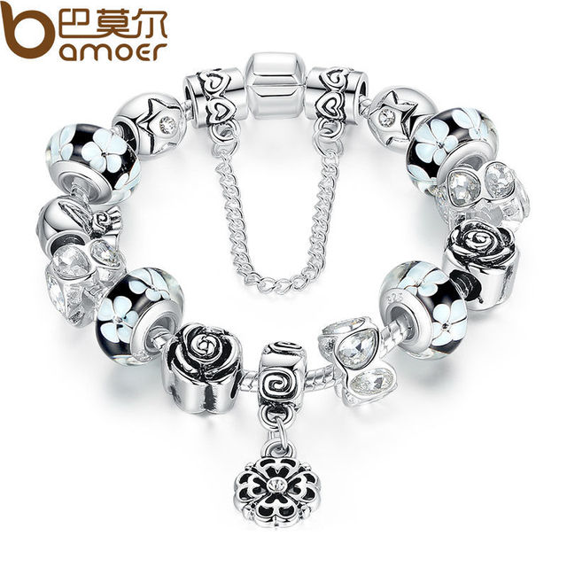 Silver Flower Glass Bead Female Bracelet With Safety Chain Strand Bracelet Bijoux Women Clothing Accessories
