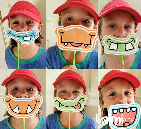 6pcs Lot Little Monster Photo Booth Props With Straws Photographed Photobooth Kids Birthday Children S Day