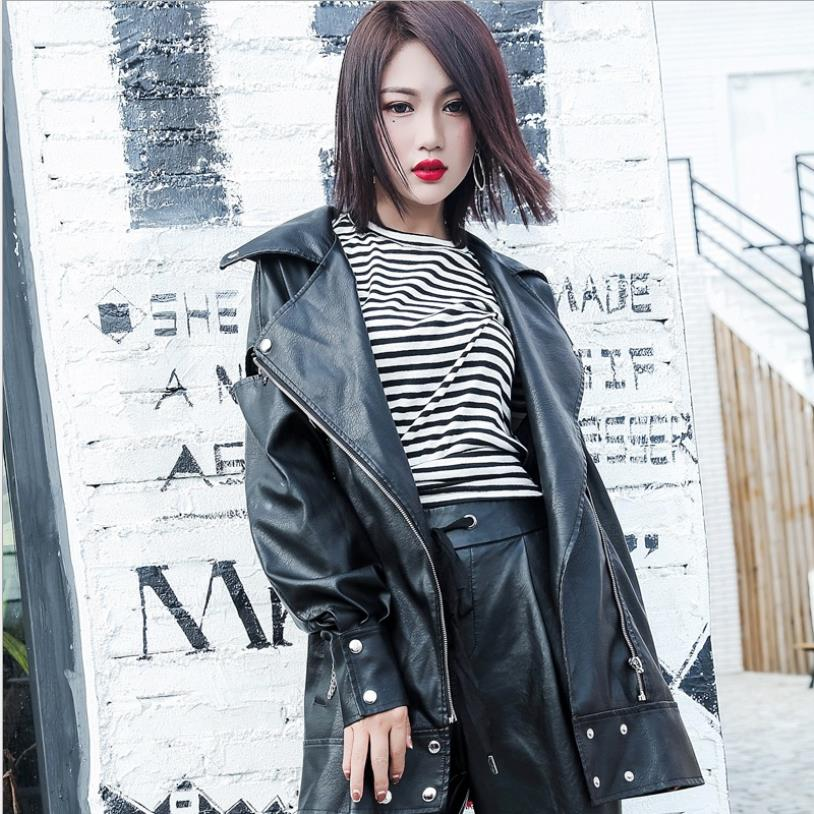 5XL loose big size fashion Pu   leather   coats female long sleeve chains jackets women autumn winter new cool outerwear gx1714