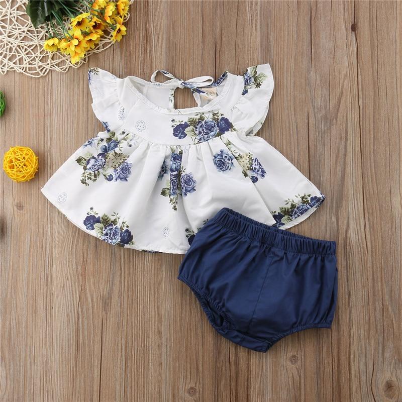 Bebê meninas roupas conjunto infantil verão floral em torno do pescoço topos harem shorts menina casual algodão bonito 2 pçs recém nascido