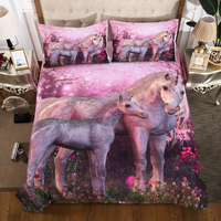 Pink Horse / Unicorn printed Bed Cover Bedclothes Twin Full Queen King Super King Sizes bed linens set comforter for cover 3 pcs