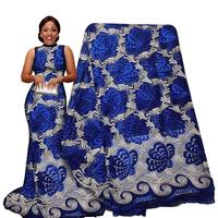 Blue Pearl Beads Nice Luxury Embroidery Tulle Mesh Lace Fabric For Wedding Dress Evening Dress African