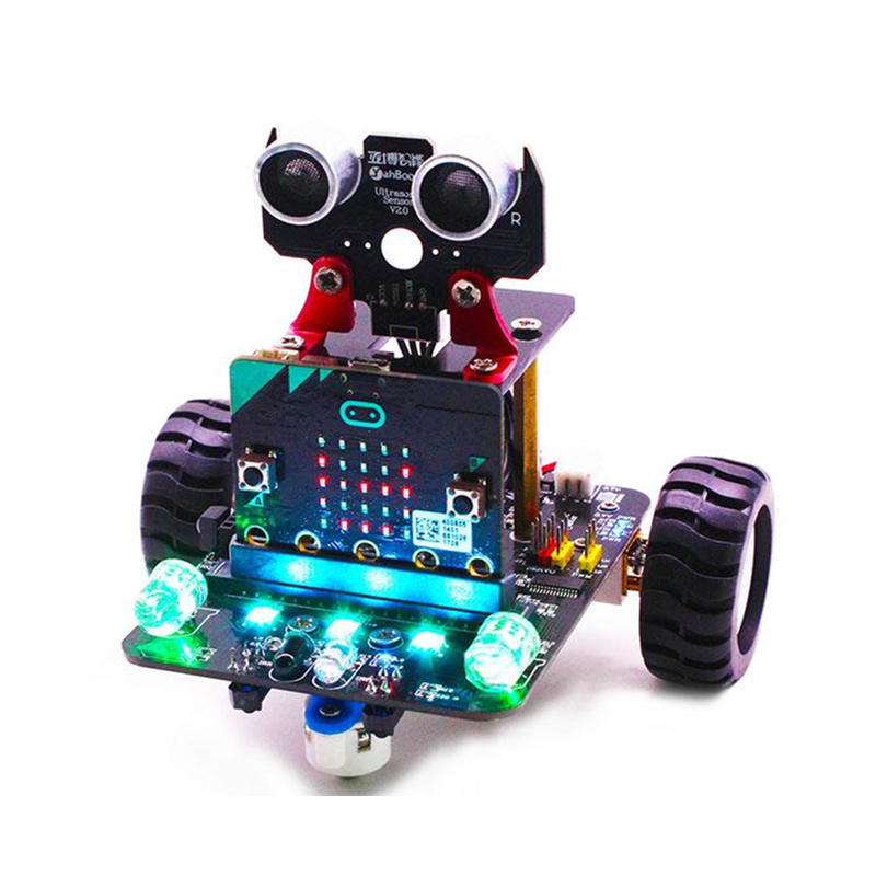 Yahboom Micro Bit Smart Robot Rc Car Remote Control Smart Car Kit With Ir And App Rc Toys Leather Bag