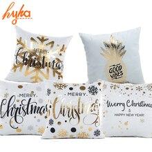 Povlak na polštář s vánočním motivem a zlatým potiskem