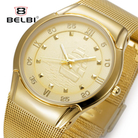 2016 Mens Watches Top Brand Luxury BELBI Three Colors Stainless Steel Waterproof Gold Mens Watches Quartz