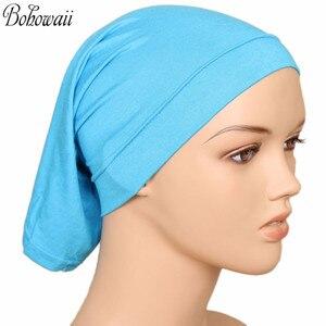 Image 5 - BOHOWAII イスラム教徒イスラムボンネットヒジャーブキャップ 20 色高品質 Hidjab 女性スカーフの下カジュアル Turbante
