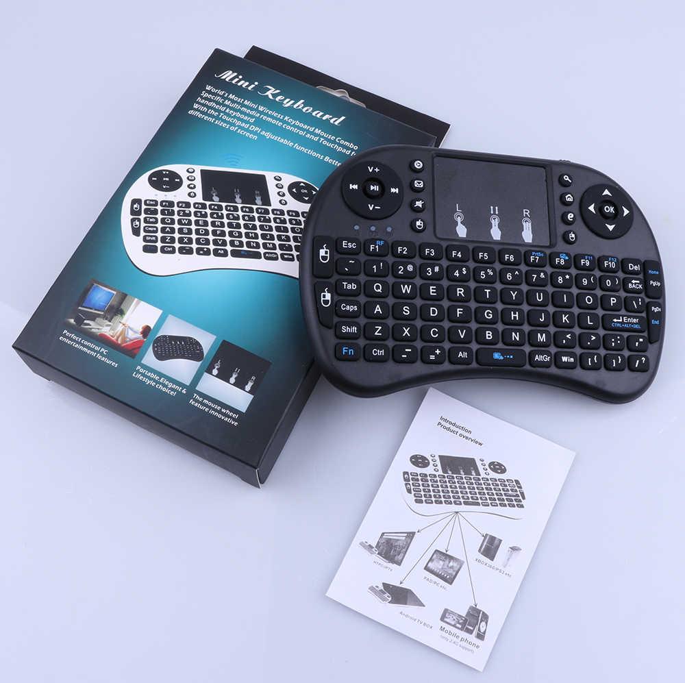 I8 ruso inglés Spainish 2,4 GHz retroiluminado inalámbrico Mini teclado Air Mouse Control remoto con Touchpad para Android TV Box