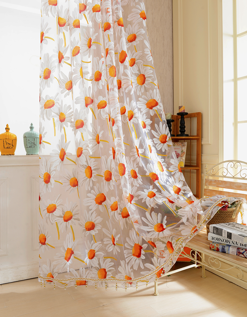 new white orange 1 2 5m sunflower voile window panel sheer tulle drapes decorative curtains for living room bedroom home decor