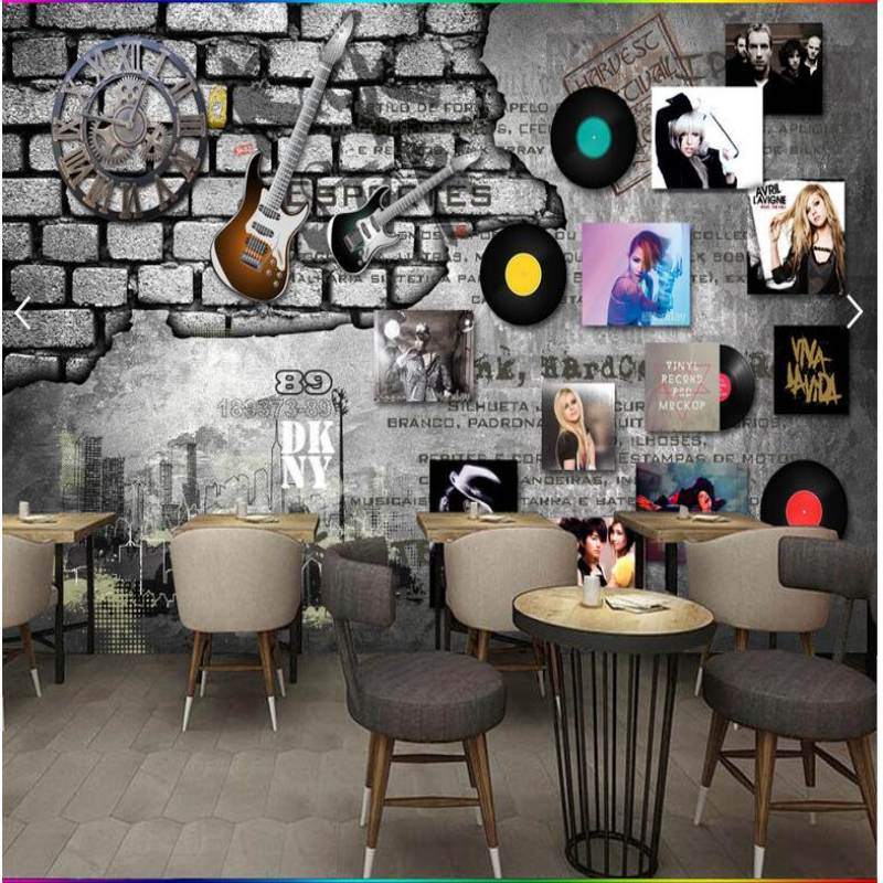 Custom mural wallpaper European Retro Rock Music Albums Brick Wall Background Wallpaper Clock Bar Background Wall Paper Обои