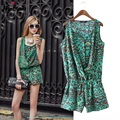 Women Leopard Rompers Sleeveless Jumpsuit Shorts 2017 Summer Fashion Ladies Beach Rompers Free Shipping